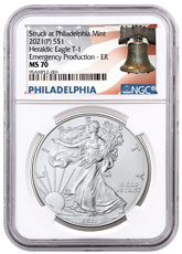 2021-(P) American Silver Eagle Struck at Philadelphia Mint - Emergency Production T-1 NGC MS70 ER Liberty Bell Label