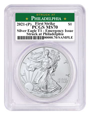 2021-(P) American Silver Eagle Struck at Philadelphia Mint - Emergency Production T-1 PCGS MS70 FS Green Struck at Philadelphia Label