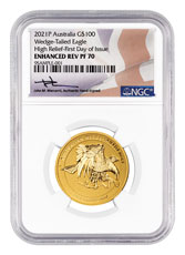 2021-P Australia 1 oz High Relief Gold Wedge-Tailed Eagle Enhanced Reverse Proof $100 Coin Scarce and Unique Coin Division NGC PF70 UC FDI Mercanti Signed Label