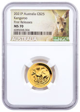 2021-P Australia Gold Kangaroo 1/4 oz Gold $25 Coin NGC MS70 FR Kangaroo Label