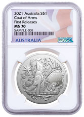 2021-P Australia Coat of Arms 1 oz Silver $1 Coin NGC MS70 FR Flag Label