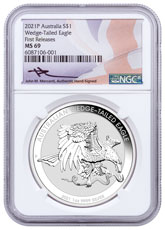 2021-P Australia 1 oz Silver Wedge-Tailed Eagle $1 Coin NGC MS69 FR Mercanti Signed Flag Label