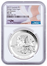 2021-P Australia 1 oz Silver Wedge-Tailed Eagle $1 Coin NGC MS70 FR Mercanti Signed Flag Label