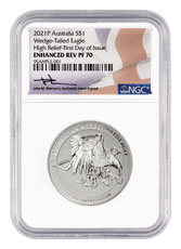 2021-P Australia 1 oz High Relief Silver Wedge-Tailed Eagle - Enhanced Reverse Proof $1 Coin Scarce and Unique Coin Division NGC PF70 UC FDI Mercanti Signed Label