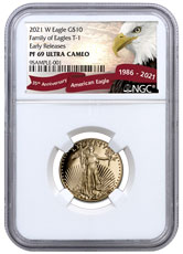 2021-W 1/4 oz Gold American Eagle Proof T-1 $10 NGC PF69 UC ER Exclusive Eagle Label
