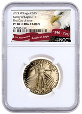 2021-W 1/2 oz Gold American Eagle Proof T-1 $25 NGC PF70 UC FDI Exclusive Eagle Label