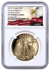 2021-W 1 oz Gold American Eagle Proof T-1 $50 NGC PF70 UC FDI Exclusive Eagle Label