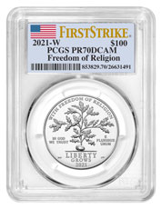 2021-W 1 oz Platinum American Eagle Freedom of Religion Proof $100 PCGS PR70 DCAM FS Flag Label