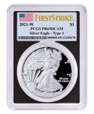 2021-W Silver Proof American Eagle PCGS PR69 DCAM FS Black Frame Flag Label