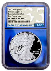 2021-W Proof American Silver Eagle T-1 Congratulations Set NGC PF70 UC FDI Blue Foil Core 35th Anniversary Label