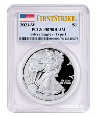 2021-W Silver Proof American Eagle PCGS PR70 DCAM FS Flag Label