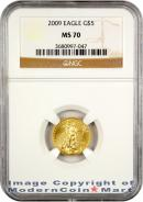 2009 $5 Gold Eagle NGC MS70 Mint State 70