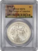 2010-P Boy Scouts of America S$1 Silver Dollar PCGS MS70 Mint State 70 FLAG LABEL