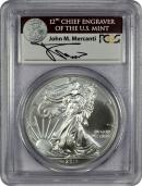 2011(S) Silver Eagle Struck at San Francisco Mint Signed by John M Mercanti, 12th Chief Engraver of the U.S. Mint PCGS MS69 Mint State 69