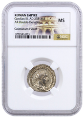 Roman Empire, Silver Double Denarius of Gordian III (AD 238-244) - The Colosseum Hoard NGC MS