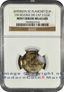 No Date Jefferson 5C Mint Error Planchet Clip on Reverse Die Cap 3.5 Gram NGC MS65 6FS