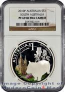 2010-P Australia 1 Oz Silver South Australia - Wombat $1 NGC PF69 UC Proof 69 Ultra Cameo