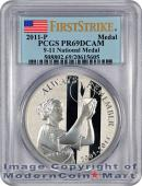 2011-P 9/11 10th Anniversary September 11 Memorial Silver Medal (S12) PCGS PR69 DCAM FS Proof 69 Deep Cameo First Strike