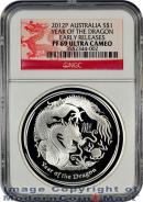 2012-P Australia 1 Oz Silver Lunar (Series 2) Year of the Dragon S$1 NGC PF69 UC ER Proof 69 Ultra Cameo Early Releases  *** DRAGON LABEL***