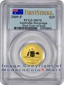 2009-P Australia Gold 1 Sovereign - $25 PCGS MS70 FS Mint State 70 First Strike