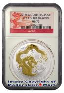 2012-P Australia 24k Gold Gilt Gilded 1 Oz Silver Lunar (Series 2) Year of the Dragon $1 NGC MS70 Mint State 70 ***DRAGON LABEL***