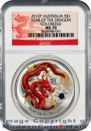 2012-P Australia 1 Oz Colorized Silver Lunar (Series 2) Year of the Dragon $1 NGC MS70 Mint State 70 ***DRAGON LABEL***