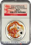 2012-P Australia Orange-Yellow Colorized 1 Oz Silver Lunar (Series 2) Year of the Dragon $1 NGC MS69 Mint State 69 ***DRAGON LABEL***