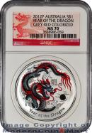2012-P Australia Grey-Red Colorized 1 Oz Silver Lunar (Series 2) Year of the Dragon $1 NGC MS70 Mint State 70 ***DRAGON LABEL***