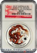 2012-P Australia Orange-Black Colorized 1 Oz Silver Lunar (Series 2) Year of the Dragon $1 NGC MS69 Mint State 69 ***DRAGON LABEL***