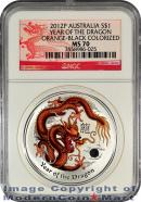 2012-P Australia Orange-Black Colorized 1 Oz Silver Lunar (Series 2) Year of the Dragon $1 NGC MS70 Mint State 70 ***DRAGON LABEL***