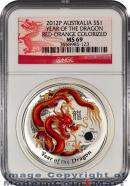 2012-P Australia Red-Orange Colorized 1 Oz Silver Lunar (Series 2) Year of the Dragon $1 NGC MS69 Mint State 69 ***DRAGON LABEL***