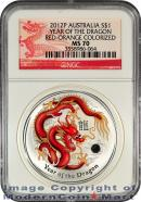 2012-P Australia Red-Orange Colorized 1 Oz Silver Lunar (Series 2) Year of the Dragon $1 NGC MS70 Mint State 70 ***DRAGON LABEL***