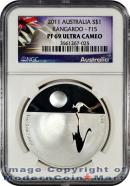 2011 Australia 1 oz Silver Kangaroo at Sunset - F15 Privy Mark $1 NGC PF69 UC Proof 69 Ultra Cameo ***EXCLUSIVE LABEL***