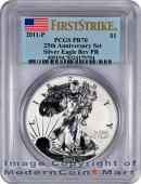 2011-P 25th Anniversary Silver Eagle FROM (A25) SET PCGS Rev PR70 FS Reverse Proof 70 First Strike *** FLAG LABEL ***  ***ONE OF THE NEW KEYS TO THE SERIES***