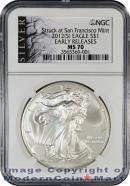2012(S) Silver Eagle Struck at San Francisco Mint NGC MS70 ER ALS Mint State 70 Early Releases American Liberty Series