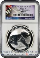 2012-P Australia 1 Oz Silver Koala $1 NGC MS69 ER Mint State 69 Early Releases ***EXCLUSIVE LABEL***