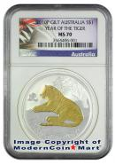2010-P Australia 24K Gold Gilt 1 Oz Silver Lunar (Series 2) Year of the Tiger $1 NGC MS70 Mint State 70 ***EXCLUSIVE LABEL***