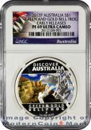 2012-P Australia 1 Oz Silver Discover Australia - Green & Gold Bell Frog $1 NGC PF69 UC ER Proof 69 Ultra Cameo Early Releases ***EXCLUSIVE LABEL***