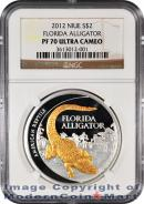 2012 Niue 24k Gold Gilt 1 Oz Silver Florida Alligator $2 NGC PF70 Proof 70 Ultra Cameo