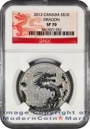 2012 Canada 1/2 Oz Silver Lunar Year of the Dragon $10 NGC SP70  Specimen 70 ***DRAGON LABEL***