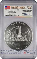 2011-P 5 Oz Silver America The Beautiful NP9 Vicksburg John Mercanti Signed Label PCGS SP70 Specimen 70 First Strike ***ON SPECIAL NOW***