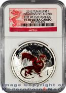 2012-P Tuvalu 1 Oz Silver Dragons of Legend - Red Welsh Dragon $1 NGC PF70 UC  Proof 70 Ultra Cameo ***DRAGON LABEL***