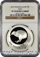 2010 New Zealand 1 Oz Silver Kiwi $1 NGC PF70 UC Proof 70 Ultra Cameo
