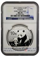 2012 China 1 Oz Silver Panda 10 Yuan NGC MS70 ER Mint State 70 Early Releases