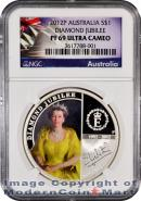 2012-P Australia 1 Oz Silver Queen Elizabeth's Diamond Jubilee $1 NGC PF69 UC Proof 69 Ultra Cameo ***EXCLUSIVE LABEL***