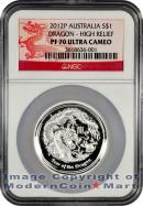 2012-P Australia HIGH RELIEF 1 Oz Silver Lunar Year of the Dragon $1 NGC PF70 UC Proof 70 Ultra Cameo ***DRAGON LABEL***