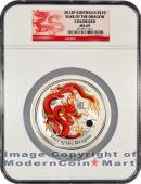 2012-P Australia 10 Oz Colorized Silver Lunar (Series 2) Year of the Dragon $10 NGC MS69  Mint State 69 ***DRAGON LABEL***
