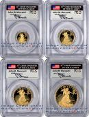2012-W 4 Coin Gold Eagle Set Signed by John M. Mercanti PCGS PF70 DCAM FS Proof 70 Deep Cameo First Strike