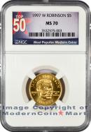 1997-W Jackie Robinson $5 Gold NGC MS70 Mint State 70 ***TOP 50 LABEL***