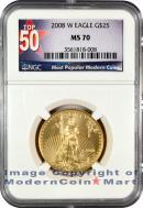 2008-W Burnished $25 Gold Eagle NGC MS70 Mint State 70 ***TOP 50 LABEL***